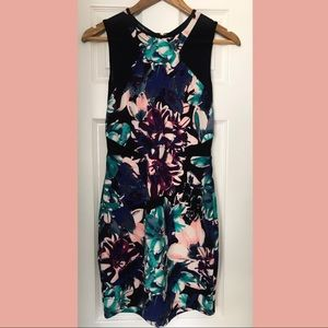 Bebe midi bodycon floral print dress sz. med